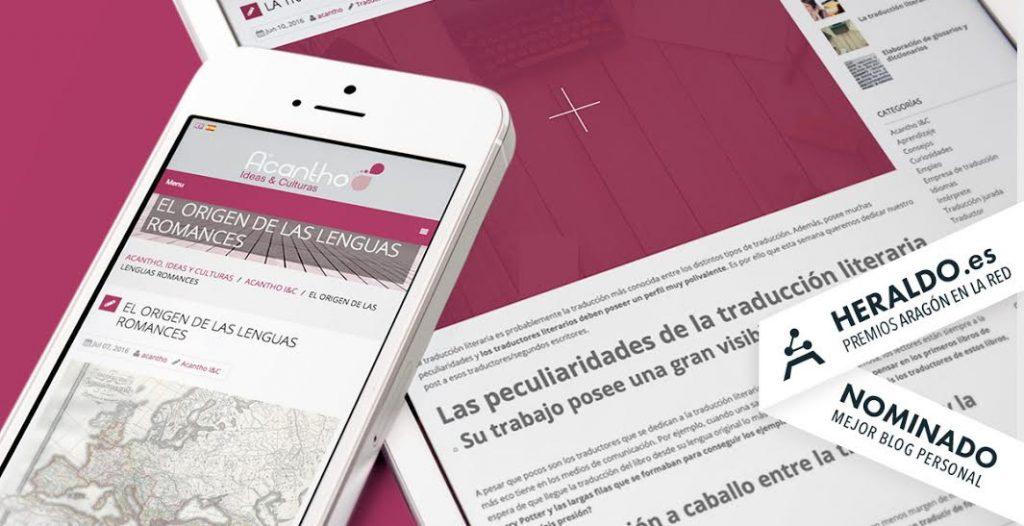 ¡El blog de Acantho, finalista a mejor blog en los premios Aragón en la Red! 2