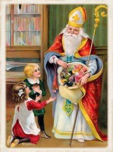 San Nicolás dando regalos a s niños